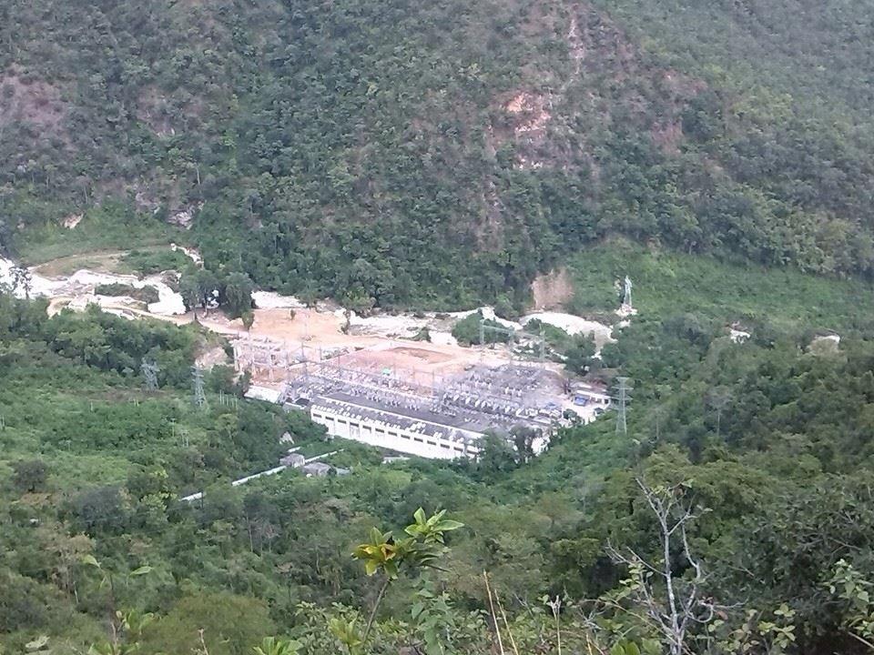 水電力の工場を上空から写した写真