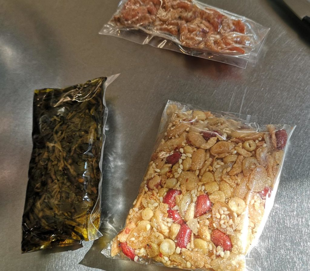 豆と干しエビは全体でわけて使いました