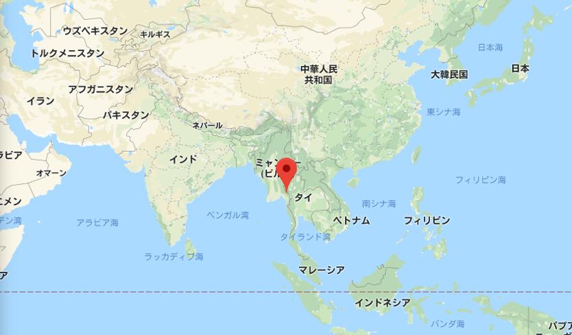 カイカイン州と日本の位置関係ン州と日本の位置関係
